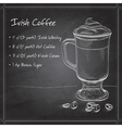 Irish cream coffee on black board vector image