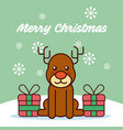 merry christmas cute reindeer sitting in snow with vector image