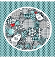 Pattern with snow birds hearts and flowers vector image
