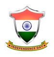 Silver Icon with flag of India and inscription vector image