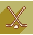 flat icon with long shadow hockey sticks vector image