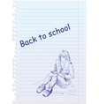 back to school placard with hand-drawn girl vector image vector image