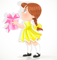 little girl in a yellow dress gives a gift vector image vector image