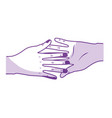silhouette nice hands together like friendship vector image