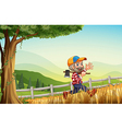 A woodman walking at the hill happily vector image