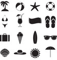 Summer Beach Black Of Silhouette Icons vector image