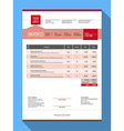 Customizable Invoice Form Template Design Red vector image