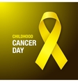 Childhood Cancer Day Awareness Yellow Ribbon vector image