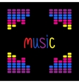 Colurful digital equalizer frame Word Music Flat vector image