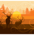 deer and forest background vector image