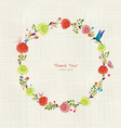 Round floral frame for your design thank you vector image