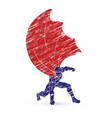 strong man superhero landing powerful action vector image