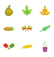 Marijuana icons set cartoon style vector image vector image