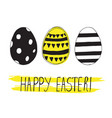 easter greeting card with easter eggs doodles vector image