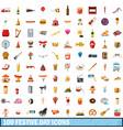 100 festive day icons set cartoon style vector image