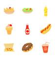 fast food menu icons set cartoon style vector image