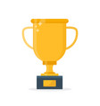 gold trophy cup flat cartoon vector image