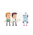 manager advertises new assistant robot vector image