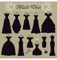 Silhouette of black party dress setFlat design vector image