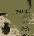 hand grenade grunge background vector image vector image