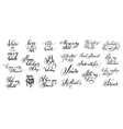 set of black and white hand written lettering vector image