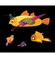 cartoon characters dandy fish with umbrella vector image