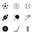 black sport icons set vector image