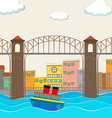 City view with bridge and boat vector image