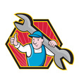 Mechanic With Spanner Thumbs Up vector image