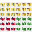 Kalmyikia Niue Taiwan Saudi Arabia Set of 36 flags vector image