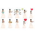 set of with bride character vector image