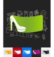 shoe paper sticker with hand drawn elements vector image