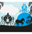 Silhouette of a horse carriage and a medieval vector image
