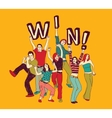 Winner young group happy people color vector image
