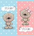 teddy bears boy and girl vector image