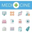 set of flat science icons vector image vector image