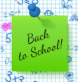 Paper Note with Lettering Back to School vector image