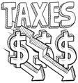 Taxes and arrow vector image