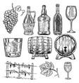 wine set of wine bottles grape glass wood vector image