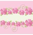 Pink flowers ornate frame background vector image vector image