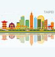 taipei skyline with color buildings blue sky vector image
