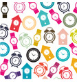colorful pattern with clock models vector image