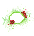 Green banner with red peony vector image