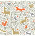 Summer woodland pattern vector image
