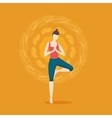 Woman yoga Girl on a bacgkround with ornament vector image