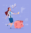 business woman put coin piggy bank money vector image