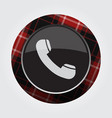 button with red black tartan - old telephone icon vector image