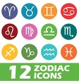 Colored round zodiac icon set vector image