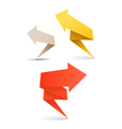 Colorful polygonal origami arrow banners vector image