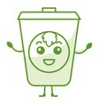 ecology recycle bin kawaii character vector image
